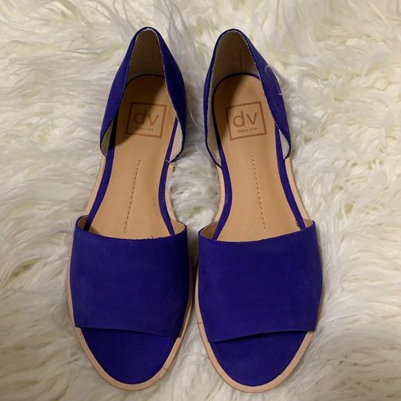 Dolce Vita Shoes - Dolce Vita Blue faux suede open toe flats
